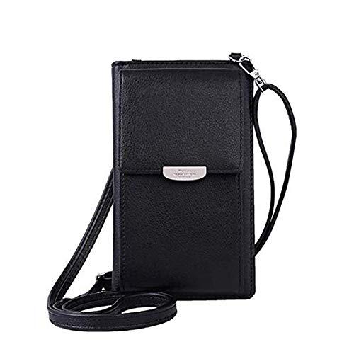 Damen Handtaschen Schultertasche Umhängetasche Kunstleder Schultertasche 3 Reißverschluss Beutel mit Vielen Fächern Kartenfach Geldbörse Portemonnaie für iPhone 5/6/7/8/X Plus
