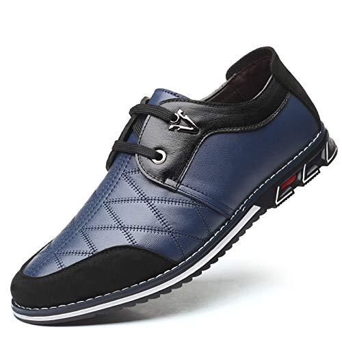 Chaussure Homme Cuir Brogues Derby Lacets Oxford Business Casual Cuir Mocassins Loafers Mariage Affaires Mode Formelle Classique Bleu Noir