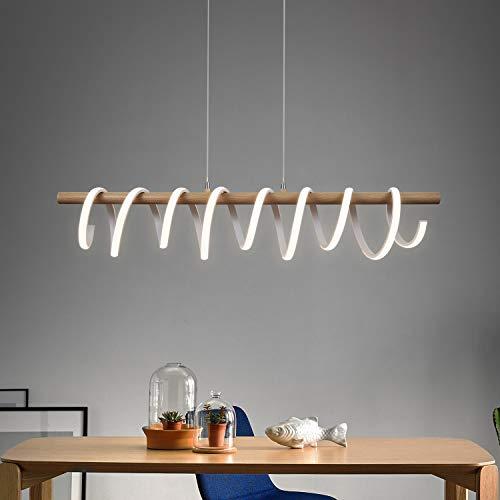 Lampara colgante LED en espiral, lampara colgante blanca ZMH lampara de mesa de comedor 35W, lampara colgante interior lampara de arana blanca calida para sala de estar, dormitorio