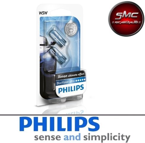 COPPIA LAMPADE PHILIPS WhiteVision W5W T10 12V 65W +60% 4300K 12961NBVB2