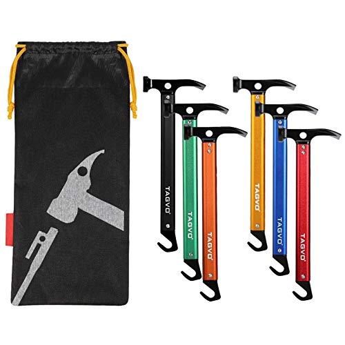 TAGVO Multifunktions Camping Hammer, Multifunktions Outdoor High Carbon Stahl Camping Hammer Zelt Hammer mit Zeltpfahlentferner die Funktion,mit Aufbewahrungstasche
