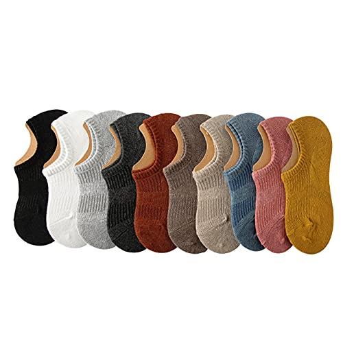 10pcs damas calcetines calcetines de barco, color puro de color y verano calcetines invisibles transpirables, silicona calcetín antideslizante fino fino,Multi colored,One Size