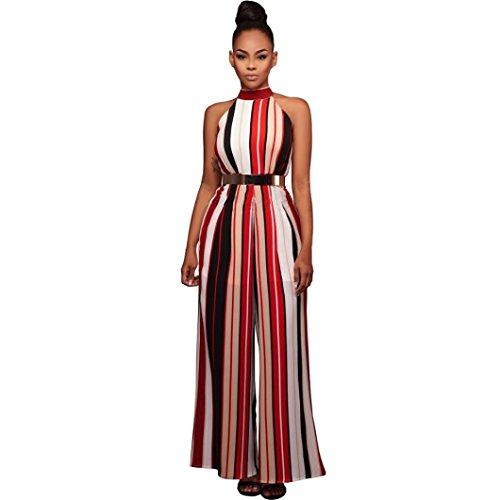IMJONO. Frauen Sleeveless Rollkragen Stripes Hohe Taille Flared Overalls Strampler Breite Beinhosen (Rot, L)