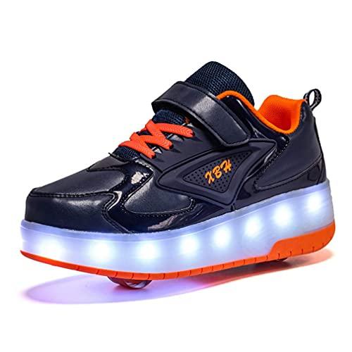 Unisex USB Zapatillas de carga Zapatos de rodillos para niños Zapatillas de deporte de las niñas Zapatos de patinaje LED LED enciende las ruedas de doble ruedas para niños mejores regalos,Black c,4