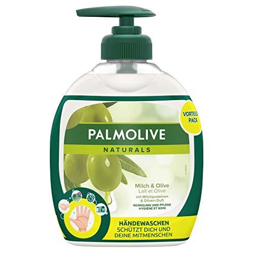 Palmolive Seife Naturals Milch und Olive, 12er Pack (6x Flasche mit Pumpe und 6x Nachfüllflasche) - Flüssigseife zur sanften Reinigung der Hände, dermatologisch getestet
