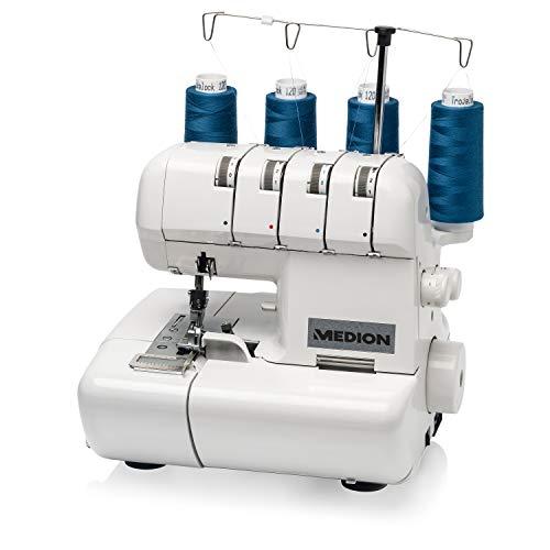 Medion MD 14302 - Máquina de bloqueo remalladora, 90 vatios, lámpara de 15 vatios, 1000 puntadas por minuto, ancho de corte ajustable, color blanco