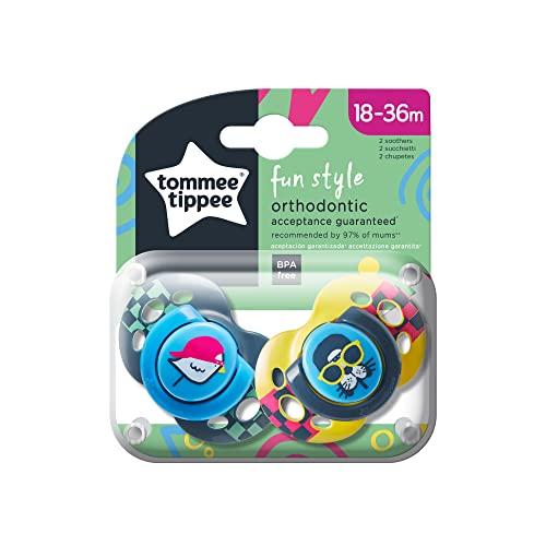 Tommee Tippee Closer to Nature - Chupetes, 2 unidades, diseño Fun, para 18-36 meses, color azul