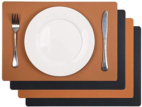 SHACOS 4 Stück Leder Tischset Abwaschbar Schwarz Leder Platzset Braun Platzsets Abwischbar Wasserdicht Perfekt für Restaurant, Fest usw. 43x30 cm