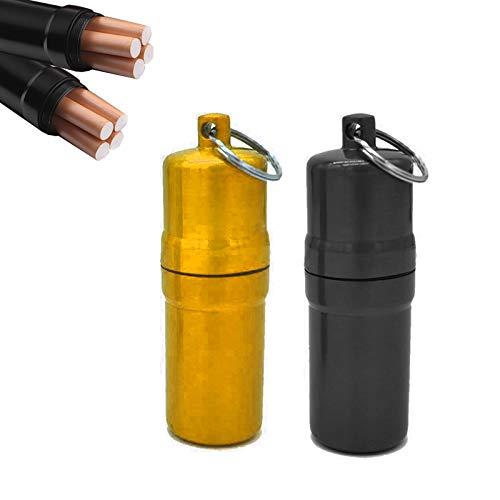 gotyou 2 Piezas Mini Pitillera, Metal Resistente Al Agua Bolsillo Redondo Estuche, Pitillera de Aluminio, Pastilleros Lllavero, Estuche portátil de Bolsillo para Cigarrillos(Negro y Oro)