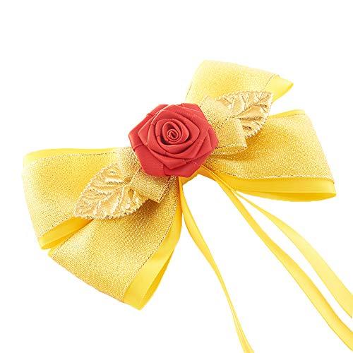 JiaDuo Princess Dress Up Accessories for Girls Women Halloween Costume Big Hair Bow Clips Yellow 6 Inch