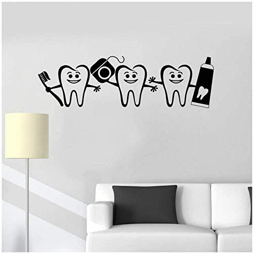 Muursticker voor woonkamer slaapkamer PVC afneembare stickers Dental Care vinyl tandarts aanmelden deur raam sticker Home badkamer tand sticker 57 cm x 17 cm