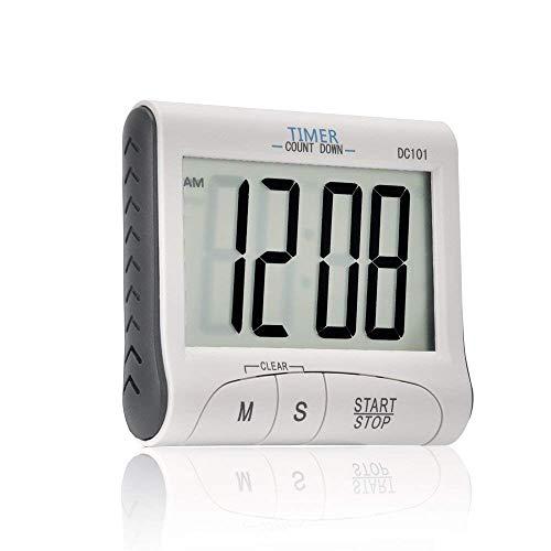 Temporizador de cocina digital con pantalla grande, alarma de sonido fuerte, fuerte respaldo magnético, soporte retráctil, temporizador de cocina, temporizador de cocina digital blanco