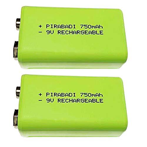 Confezione da 2 batterie 9 V ricaricabili 750 mAh 6LR61 6F22 NiMH ACCU batteria | grande capacità | elevata qualità | Telecomando, Robot giocattolo, lampada | MP3 MP4 ETC (750 mAh)