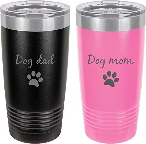 Dog Dad - Dog Mom Stainless Steel Engraved Insulated Tumbler 20 Oz Travel Coffee Mug, Black/Pink