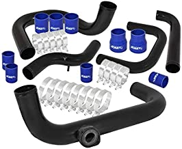 AJP Distributors Jdm Racing Performance Aluminum Intercooler Piping Kit FMIC Black Coupler Blue For Honda Acura Civic Del Sol Integra Ek Eg Ej Em Dc2