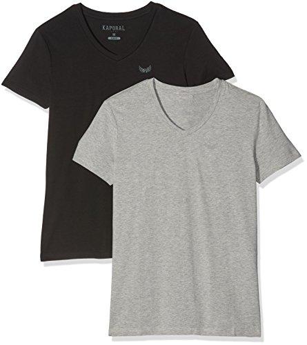 Kaporal Gift T-Shirt, Multicolore (Black Grey Melanged), L (Lot de 2) Homme