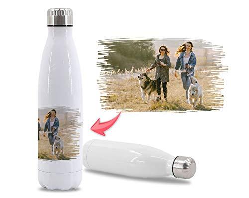 Getsingular Botellas de Agua de Acero Inoxidable Personalizadas con tu Foto y Diseño | Botellas térmicas de Doble Capa | Libre de BPA | Bebidas frías 24h y Calientes 12h | 350 ml / 500 ml / 75