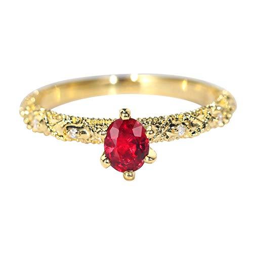 Aeici Anillos Oro amarillo 18k, Anillo De Compromiso Oro Rubí Diamante 0.4ct, Redonda, Talla 18,5