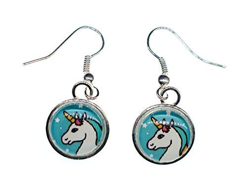 Aretes Unicornio Pendientes cabujón Miniblings fantasía caballo 13mm
