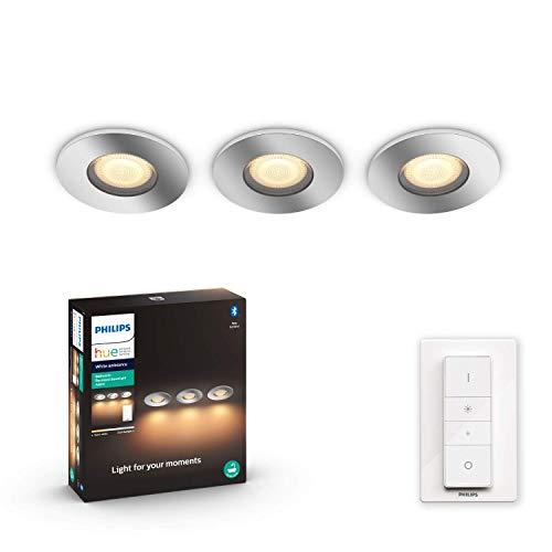 Philips Hue White Amb. Adore LED-Einbauspot Adore inkl. Dimmschalter, Bad-Beleuchtung, silber, rund, dimmbar, alle Weißschattierungen, steuerbar via App, kompatibel mit Amazon Alexa (Echo, Echo Dot)