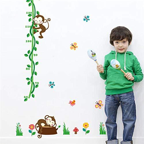 Muursticker voor de kinderkamer, boom, vogel, bloem, vlinder, meetlat voor kleuterschool, wooncultuur