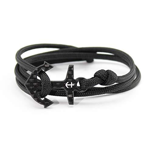 """kohlenstoff 12 """"Ancore"""" Armband Herren Cord Bracelet Schwarz Weiß Schmuck Anker Carbon Black White als edles Ankerarmband Accessoire für den modernen Mann (18)"""