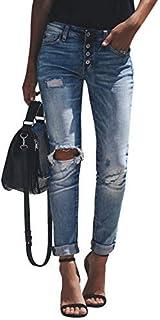 Yidarton Femme Jeans Déchiré Push Up Skinny Slim Fit Stretch Boyfriend Denim Jean Troué Pantalons Jeggings Pants Casual Rétro