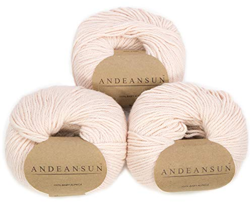 (Set of 3) 100% Baby Alpaca Yarn DK #3 (150 Grams Total) Luxuriously Cozy and Caring Soft to Enjoy Knitting, Crocheting and Weaving - Gorgeous Twist and Stitch Definition (Peach Cream)