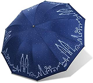 Creative Umbrella Automatically Opens and Closes Lightweight and Portable Windproof and Waterproof Ultraviolet Protection Umbrella,Blue