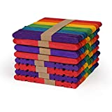Vegena 400 Piezas Palitos de Madera para Manualidades, Palos de Helado Multicolor, Palos de Madera Natural de Alta Calidad, para Paletas Caseras, Depilación con Cera, DIYartesanías, Diseños Creativos