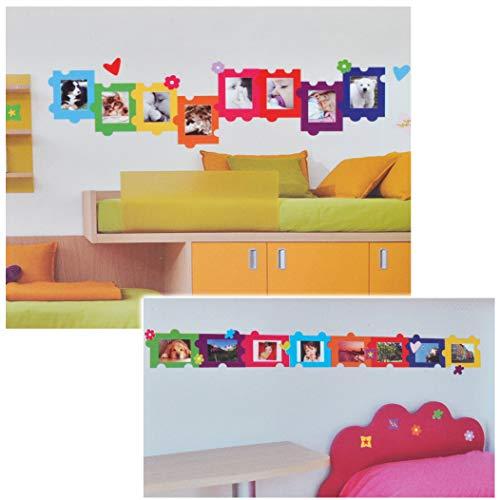 alles-meine.de GmbH XL Wandsticker / Sticker - Fotorahmen als Puzzle für Foto´s - Herzen Blumen für Bilder - Wandsticker Aufkleber Bilderpuzzle Bilderrahmen selbstklebend Foto
