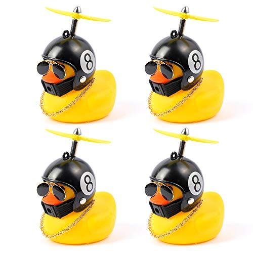 QKFON 2/4 piezas de decoración de coche de pato, pequeño pato amarillo cortavientos con casco, cuerno ligero para niños de montaña lindo timbre para regalos de cumpleaños