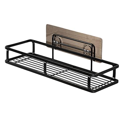 OUMTG Estante de baño Sin perforación Organizador Ducha Caddy Storage Cocina Estante Autoadhesivo Ducha Cesta de Acero Inoxidable Estante de baño (Color : Black)