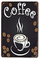 コーヒーカプチーノ豆金属スズのロゴ、アンティークポスター、看板、壁の装飾