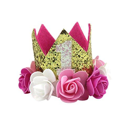 LUOEM Bebé primer cumpleaños sombrero bebé princesa Tiara corona oro flor estilo corona diadema fiesta...
