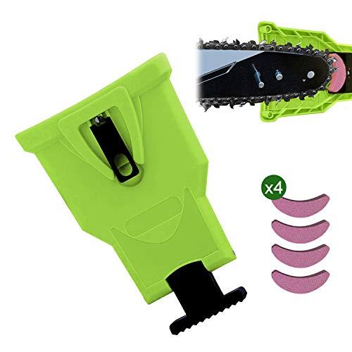 JEEZAO Herramientas de Cadena de Esmerilado Kit de Afilado de Motosierra Portátil Herramientas con 4 Piezas de Piedras para Trabajo en Madera Afilador,Desmalezadora (Verde)