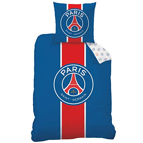 PSG Bettwäsche Set 2 teilig · Fußball Frankreich Paris Saint Germain · Wende-Motiv · 1 Kissenbezug 80x80 + 1 Bettbezug 135x200 cm - 100%