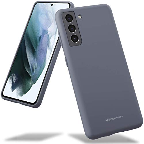 Goospery Liquid Silicone Case for Galaxy S21 (6.2 inches) Jelly Rubber Bumper Case Cover with Soft Microfiber Lining (Lavender Gray) S21-SLC-LGRY