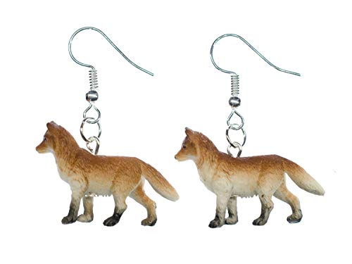 Miniblings Fuchs Ohrringe Füchse Fuchsohrringe braun 30mm Gummi Tiere Wald - Handmade Modeschmuck I Ohrhänger Ohrschmuck versilbert