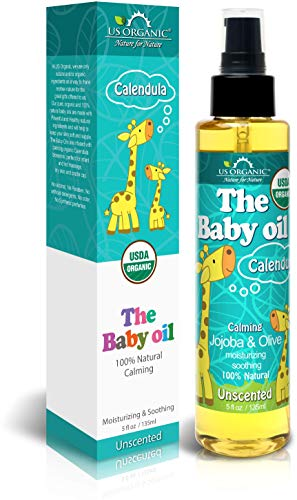 US Organic Baby Oil with Calendula, - Jojoba and Olive Oil with Vitamin E, USDA Certified Organic, No Alcohol, Paraben, Artificial Detergents, Color, Synthetic Perfumes, 5 fl. Oz (Unscented)