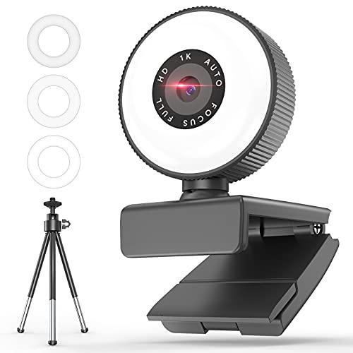 MOEGFY Cámara web HD 1080P con micrófono, para computadora portátil, computadora de escritorio, cámara de PC, conferencias con zoom, juegos, videollamadas, transmisión de cámara web con anillo de luz