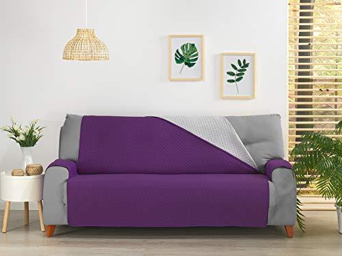 NH NOVOTEXTIL HOGAR Funda Cubre Sofá, Protector para Sofás Acolchado y Reversible, Varios tamaños y Colores. (Sofa 2 PLAZAS, Morado)