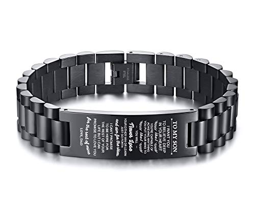 MEALGUET Stainless Steel to My Son Bracelet I Want You to Believe Deep in Your Heart Love Dad Son Link Bracelets to My Son, 8.2'