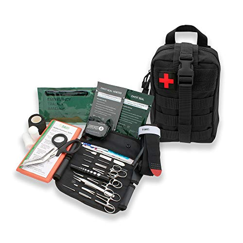 AsaTechmed Premium Rip Away IFAK MOLLE Pouch with Stop The Bleed Kit First Aid Combat Survival Kit Outdoors Hiking Camping Gift for Him (Black)