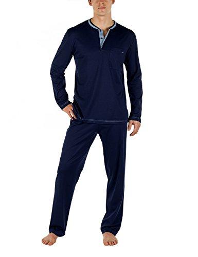 Calida Herren Pyjama Chill Out Zweiteiliger Schlafanzug, Blau (Dark Blue 449), XX-Large (Herstellergröße: XXL=58/60)