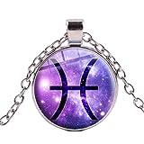 Collar con colgante de signo del zodiaco con 12 constelaciones Aries Piscis Leo Escorpio Libra Géminis Acuario Joyería