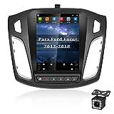 CAMECHO Android 10 Autoradio Bluetooth Coche para Ford Focus 2012-2018 GPS 9,7 Pulgadas Vertical Pantalla Táctil Radio Coche con Enlace Espejo/WiFi/FM Radio Receptor +Micrófono Externo +Cámara Trasera