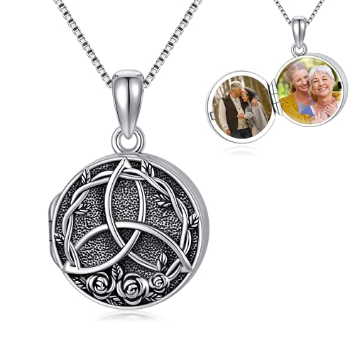 Seiyang Celtic Knot Locket Necklace That Holds Pictures Photo Keep Someone Near to You Sterling Silver Custom Jewelry Personalized Locket Necklace
