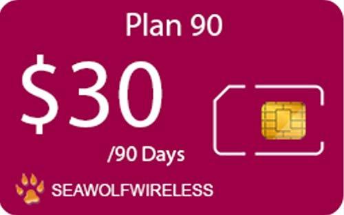 Seawolf Wireless PrePaid SIM Card 90 Plan