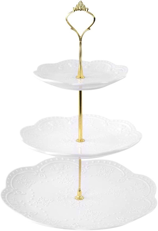 BAIJJ Support à gateaux à Trois Couches de Fruits en céramique ménage, Assiette en Blanc Pur, Support Amovible (Couleur  D)